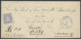 BAYERN 25Xa BRIEF, 1870 7 Kr. Mattultramarin, Wz. Enge Rauten, Mit Plattenfehler In Der Linken Einfassungslinie, Bläulic - Bavaria