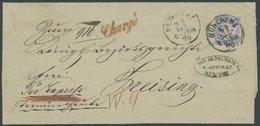 BAYERN 25Xb BRIEF, 1870, 7 Kr. Ultramarin, Wz. Enge Rauten, Dekorativer Chargé-Brief Von MÜNCHEN Nach Freising, Kabinett - Bavaria