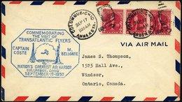 US-FLUGPOST 17.9.1930, Sonderbeleg Anläßlich Des Besuchs Der Beiden Atlantikflieger COSTE Und M. BELLONTE Im Damals Größ - Luftpost