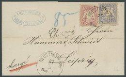BAYERN 23Y,25Ya BRIEF, 1874, 7 Kr. Mattultramarin Und 3 Kr. Hellkarmin, Wz. Weite Rauten, Auf Chargé-Brief Von NEUSTADT  - Bavaria