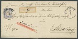 BAYERN 25Ya BRIEF, 1870, 7 Kr. Mattultramarin, Wz. Weite Rauten, Auf Einschreibbrief Mit Klebezettel Von MITTERFELS Nach - Bavaria