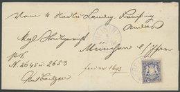 BAYERN 25Yb BRIEF, 1870, 7 Kr. Ultramarin, Wz. Weite Rauten, Mit Bläulichem K1 FREIBURG Auf Brief Nach München, Pracht,  - Bavaria