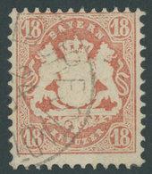 BAYERN 27Xb O, 1870, 18 Kr. Dunkelziegelrot, Wz. Enge Rauten, K1 MÜHLDORF STADT, Pracht, Gepr. Brettl, Mi. 240.- - Bavaria