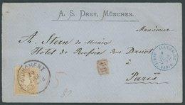 BAYERN 28Y BRIEF, 1875, 9 Kr. Braun, Wz. Weite Rauten, Dekorativer Kabinettbrief Von MÜNCHEN Nach Paris - Bavaria