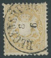 BAYERN 29Xa O, 1873, 10 Kr. Mattgelb, Wz. Enge Rauten, K1 REGENSBURG, Pracht, Mi. Brettl, Mi. 450.- - Bavaria