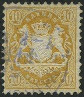 BAYERN 29Xb O, 1873, 10 Kr. Dunkelgelb, Wz. Enge Rauten, Bugspur Sonst Pracht, Gepr. Stegmüller, Mi. 500.- - Bavaria