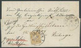 BAYERN 29Ya BRIEF, 1874, 10 Kr. Mattgelb, Wz. Weite Rauten, Prachtstück Auf Chargé-Brief Von MÜNCHEN Nach Hechingen, Gep - Bavaria