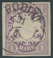 BAYERN 30a O, 1874, 1 M. Violett, K1 RODING, Kabinett, Gepr. Pfenninger - Bavaria