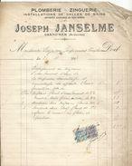 Facture  Plomberie Zinguerie  Joseph Janselme Grand'dam Ardennes 1924 - 1900 – 1949