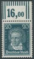 Dt. Reich 392XWOR **, 1926, 20 Pf. Beethoven, Wz. Stehend, Walzendruck, Oberrandstück, Feinst (winzige Knitter Im Oberra - Used Stamps