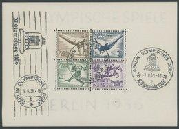 Dt. Reich Bl. 5/6 O, 1936, Blockpaar Olympische Spiele, Ersttags-Sonderstempel BERLIN OLYMPISCHES DORF Und Maschinenstem - Germany