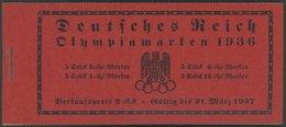 ZUSAMMENDRUCKE MH 42.1.5 **, 1936, Markenheftchen Olympische Spiele, Unbedruckt + Passerkreuz/-strich Unten, Pracht, Mi. - Se-Tenant