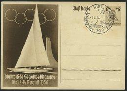 GANZSACHEN P 261 BRIEF, 1936, Olympische Segelwettbewerbe, Leer Gestempelt Mit Ersttags-Sonderstempel Von KIEL, Feinst - Germany