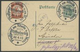ZEPPELINPOST 10 BRIEF, 1912, 10 Pf. Statt 30 Pf. Flp. Am Rhein Und Main Auf 5 Pf. Ganzsachenkarte, Unbeanstandet Beförde - Airmail