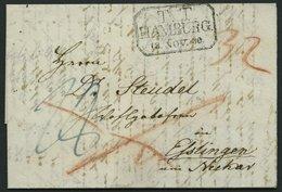 HAMBURG - THURN UND TAXISCHES O.P.A. 1830, T.T. HAMBURG, R3 Auf Forwarded-Letter Von London Nach Elstingen Am Neckar, Pr - Germany