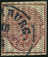 HANNOVER 8a O, 1856, 3 Pf. Karmin, Schwarz Genetzt, Blauer K2 HARBURG, Pracht, Mi. 350.- - Hannover