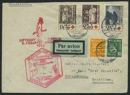 ZULEITUNGSPOST 226B BRIEF, Finnland: 1933, 6. Südamerikafahrt, Anschlussflug Ab Berlin, Drucksache, Prachtbrief - Zeppelins