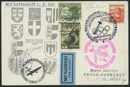 ZULEITUNGSPOST 427 BRIEF, Österreich: 1936, Olympiafahrt, Sonderkarte Olympischer Fackellauf In Österreich Weihestunde W - Zeppelins