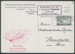RAKETENPOST 2A1 BRIEF, 1933, Raketenflug Vom Nordseebad Duhnen Nach Insel Neuwerk, Frankiert Mit Einer Gezähnten Raketen - Airmail