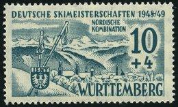 WÜRTTEMBERG 38I *, 1949, 10 Pf. Skimeisterschaften Mit Abart 8 Von 1948 Mit Schrägstrich Verknüpft, Falzrest, Pracht, Mi - Französische Zone
