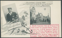 BALLON-FAHRTEN 1897-1916 1897, Ausstellung Leipzig - Ballon Polich, Freifahrt-Erinnerungskarte Des Franzosen Godard Mit  - Airships