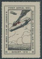 LUFTPOST-VIGNETTEN *, 1918, 25 C. Zeppelin-Abschuss, Spendenvignette Des Aero Club`s Of Canada, Dünne Stelle, Feinst - Airmail