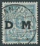 DIENSTMARKEN D 36 O, 1923, 50 M. Mittelgrünlichblau, Zeitgerechte Entwertung DANZIG 3, Pracht, Fotoattest Soecknick, Mi. - Danzig