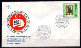 1981 TURKEY DECLARATION OF REPUBLIC 1923 FDC - 1921-... Republic
