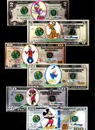 Dollar-Noten DISNEY 2, 5, 10, 20, 50 + 100 $, Play Money, Paper, 138 X 58 Mm, RRR, UNC - Banknoten