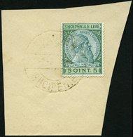 ALBANIEN 30 BrfStk, 1914, 5 Q Blaugrün/grün, Goldener Stempel SHKODER, Pracht - Albania