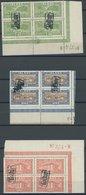 ISLAND 114-18 VB O, 1925, Ansichten In Eckrandviererblocks Mit Plattennummer, Tollur-Stempel, Pracht - Iceland
