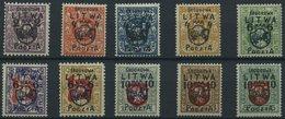MITTELLITAUEN 4-13 *, 1920, Freimarken, Falzrest, Prachtsatz, R!, Endwerte Gepr. Dr. Esser, Mi. 6500.- - Lithuania