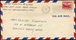 FELDPOST 1956, Luft-Feldpostbrief Der US-Fliegertruppen Aus Taiwan über Das US-Hauptfeldpostamt A.P.O. 63 Von San Franci - 1847-99 General Issues
