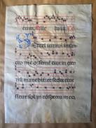 Antiphonaire XVI E Sur Vélin - Liturgie Page Rect Verso  In Folio Avec Lettrine Bleue S - Manuscrits