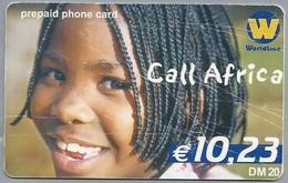 DE.- INTERNATIONAL PHONECARD. WORLDLINE. Call Africa.  € 10.23 / DM 20. Prepaid Phone Card. 2 Scans. - GSM, Voorafbetaald & Herlaadbare Kaarten