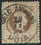 ÖSTERREICH 41II O, 1874, 50 Kr. Braun, Feiner Druck, K2 GELD-ANWEISUNG POLA, Pracht, Mi. 200.- - 1850-1918 Imperium