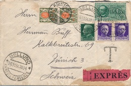 Lettre Exprès Belluno Pour Zurich, Taxe A L'arrivée, Etiquette Au Dos Bellinzona - 1900-44 Victor Emmanuel III.
