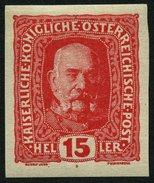 ÖSTERREICH 190U *, 1916, 15 H. Rosarot, Ungezähnt, Falzreste, Pracht - Used Stamps