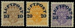 SCHWEDEN 138-40 **, 1920, Flugpostmarken, Nr. 140 Herstellungsbedingter Gummiknitter, Prachtsatz, Mi. 45.- - Schweden