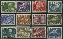 SCHWEDEN 227-38 *, 1936, 300 Jahre Post, Falzrest, Prachtsatz (12 Werte) - Used Stamps