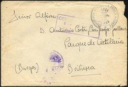MILITÄRPOST 1939, Regimentsstempel REGIMENTO ARTILLERIA FRECCE AZZURRE Und Fragment Des Spanischen Briefstempels DIVISIO - Postmark Collection