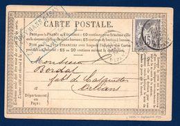 Timbre N.77. Type Sage 15 C Gris Sur Carte Postale Type 1873 N°.33 De Paris à Orléans  Du 22 Janvier  1878 - Marcophilie (Lettres)