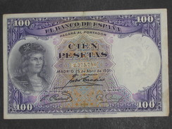 ESPAGNE 100 Pesetas - Cien Pestas  25-04-1931 - El Banco De Espana  **** EN ACHAT IMMEDIAT **** - [ 2] 1931-1936 : Republiek