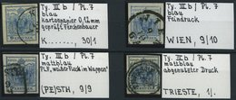 ÖSTERREICH 5Xc O, 1850, 9 Kr. Blau, Handpapier, Type IIIb, Platte 7, 4 Werte Mit Verschiedenen Besonderheiten: Plattenfe - Used Stamps