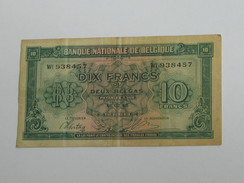 10 Francs Ou 2 Belgas - Banque Nationale De Belgique - 1943  **** EN ACHAT IMMEDIAT **** - [ 4] Occupazione Belga Della Germania