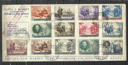 REPUBBLICA DI SAN MARINO 1952 ANNIVERSARIO NASCITA CRISTOFORO COLOMBO SERIE COMPLETA COMPLETE SET SU BUSTA FDC - FDC