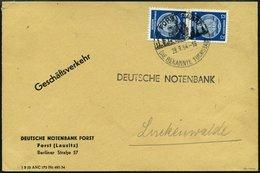 DIENSTMARKEN A D 20XI  Paar BRIEF, 1954, 12 Pf. Schwärzlichpreußischblau, Wz. 2XI, Im Senkrechten Paar Auf Geschäftsbrie - DDR