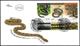 ISRAEL 2017 - Snakes In Israel - Palestine Viper; Schokari Sand Racer & Large Whip Snake - 3 Stamps With Tabs - FDC - Snakes