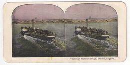 "Vue Stéréo/ANGLETERRE/Londres/"" Thames At Waterloo Bridge, London , England ""/ Bateau  / Vers 1880-1890 STE99 - Stereo-Photographie"