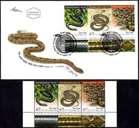 ISRAEL 2017 - Snakes In Israel - Palestine Viper; Schokari Sand Racer & Large Whip Snake - 3 Stamps With Tabs - MNH&FDC - Snakes